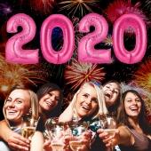 Silvester 2020, pink,1 m grosse Zahlen, befüllbare Ballons aus Folie
