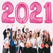 Silvester 2021, pink,1 m grosse Zahlen, befüllbare Ballons aus Folie