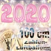 Silvester 2020, rosa,1 m grosse Zahlen, befüllbare Ballons aus Folie