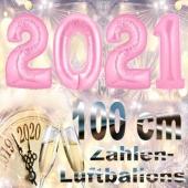 Silvester 2021, rosa,1 m grosse Zahlen, befüllbare Ballons aus Folie