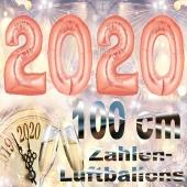 Zahlendekoration Silvester 2020, rosegold, 1 m grosse Zahlen befüllbare Ballons aus Folie