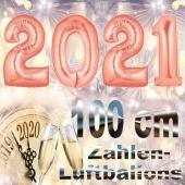 Zahlendekoration Silvester 2021, rosegold, 1 m grosse Zahlen befüllbare Ballons aus Folie