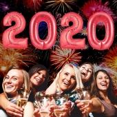 Zahlendekoration Silvester 2020 ,1 m grosse Zahlen, befüllbare Ballons aus Folie