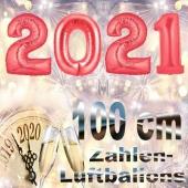 Zahlendekoration Silvester 2021 ,1 m grosse Zahlen, befüllbare Ballons aus Folie