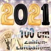 Silvester Zahlendekoration, Silvesterparty, 100 cm große Zahlen-Luftballons, schwarz-gold