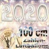 Zahlendekoration Silvester 2020 silber 1 m grosse Zahlen befüllbare Ballons aus Folie