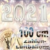 Zahlendekoration Silvester 2021 silber 1 m grosse Zahlen befüllbare Ballons aus Folie