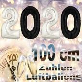 Zahlendekoration zu Silvester 2020 schwarze und silberne Zahlenluftballons