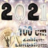 Zahlendekoration zu Silvester 2021 schwarze und silberne Zahlenluftballons