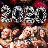 Zahlendekoration Silvester 2020, Zebramuster, 1 m grosse Zahlen befüllbare Ballons aus Folie