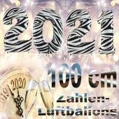 Zahlendekoration Silvester 2021, Zebramuster, 1 m grosse Zahlen befüllbare Ballons aus Folie