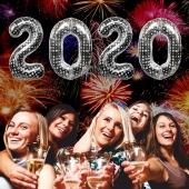 Zahlendekoration zu Silvester 2020  Zahlenluftballons, silber mit Punkten