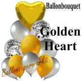 Ballon-Bouquet Golden Heart mit 11 Luftballons