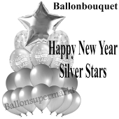 Silvester-Ballon-Bouquet Happy New Year Silver Stars mit 18 Luftballons