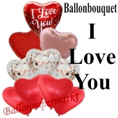 Ballon-Bouquet I Love You Rose Gold Hearts mit 10 Luftballons