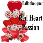 Ballon-Bouquet Red Heart Passion mit 15 Luftballons