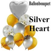 Ballon-Bouquet Silver Heart mit 11 Luftballons