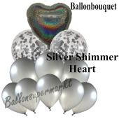 Ballon-Bouquet Silver Shimmer Heart mit 11 Luftballons