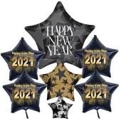 Silvesterdeko Ballon-Bouquet: 1 Cluster-Luftballon Happy New Year und 4 schwarze Sternballons 2021