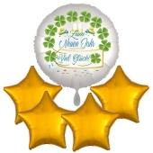 Silvesterdeko Bouquet aus Folienballons: 1x Zum Neuen Jahr Viel Glück und 4 Sternballons gold
