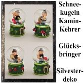 Silvester Tischdekoration Glücksbringer 4er Set Schornsteinfeger Schneekugeln