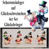 Silvester Tischdekoration Glücksbringer 4er Set Schornsteinfeger auf Glücksschweinchen