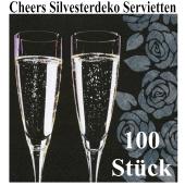 Silvesterdeko Servietten, Cheers, Sektgläser, 100 Stück, 33x33 cm, 3-lagig