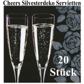 Silvesterdeko Servietten, Cheers, Sektgläser, 20 Stück, 33x33 cm, 3-lagig