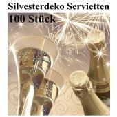 Silvesterdeko Servietten, Cheers New Year, Sektgläser, 100 Stück, 33x33 cm, 3-lagig