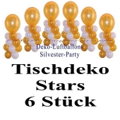 Silvesterdeko-Tischdekoration-Luftballons-Creme-Weiss-Gold-Stars