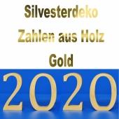 Dekoration Silvester, Tischdeko, Zahlen aus Holz, 2020, Gold