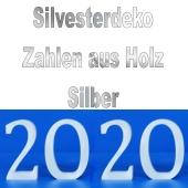 Dekoration Silvester, Tischdeko, Zahlen aus Holz, 2020, Silber
