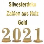 Dekoration Silvester, Tischdeko, Zahlen aus Holz, 2021, Gold