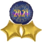 Silvestergrüße Happy New Year. 3 Heliumballons aus Folie
