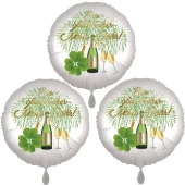 Silvestergrüße mit Heliumballons, 3 Folienballons Ein Glückliches Neues Jahr