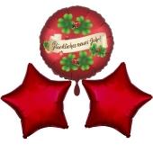Silvestergrüße Glückliches Neues Jahr. 3 Heliumballons aus Folie