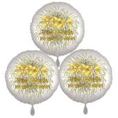 Silvestergrüße mit Heliumballons, 3 Folienballons Viel Glück im neuen Jahr, 2021