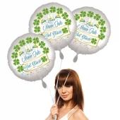Silvestergrüße: Zum Neuen Jahr viel Glück. 3 Luftballons aus Folie. Satin de Luxe, weiß, mit Helium