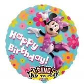 Singender Folienballon Minnie Maus zum Geburtstag
