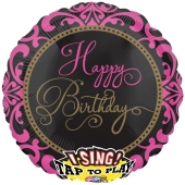 Singender Ballon, Happy Birthday Fabulous Celebration, ohne Helium