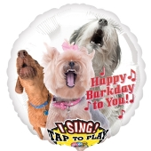 Singender Luftballon aus Folie Happy Barkday to You mit Helium