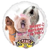Singender Luftballon aus Folie Happy Barkday to You mit Helium