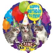 Singender Ballon, Happy Birthday to Mew mit Katzen, ohne Helium