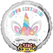 Singender Ballon Happy Birthday Unicorn Party