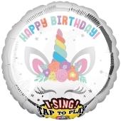 Singender Ballon, Happy Birthday Unicorn Party, ohne Helium