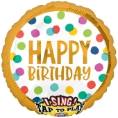 Singender Ballon, Happy Birthday Dots, inklusive Helium