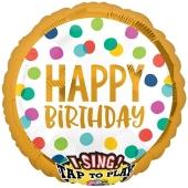 Singender Ballon, Happy Birthday Dots, ohne Helium