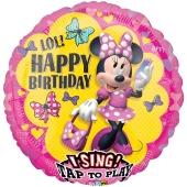 Singender Folienballon Minnie Maus fröhliche Helfer zum Geburtstag