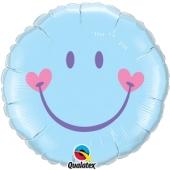 Smiley Boy Rundluftballon zu Babyparty, Geburt und Taufe ohne Helium