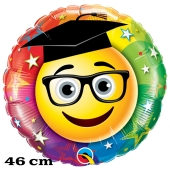 Smiley Graduate, Luftballon aus Folie zur bestandenen Prüfung, zu Abitur und Examen